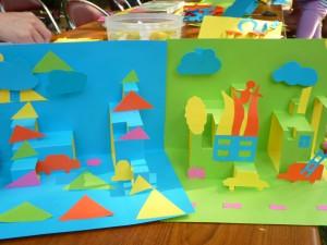 Réalisation de superbes cartes pop-up en 2h d'atelier enfants / adultes, après une présentation du travail des auteurs illustrateurs © Perluette